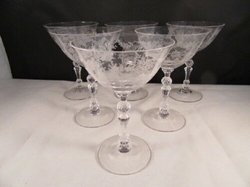6 Vintage Fostoria Chintz Etched Crystal Champagne /Tall Sherbet Glasses Coupes