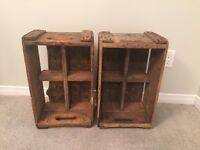 Two antique Coca Cola wood crates. Great condition.