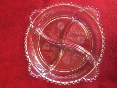 Vintage Floral Etched Rim Beaded 4 Section 8.5 Round Relish Candy Tray EUC