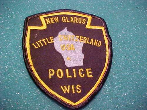 NEW GLARUS WISCONSIN POLICE PATCH SHOULDER SIZE UNUSED