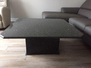 Elegant Black Stone Coffee & Side Table