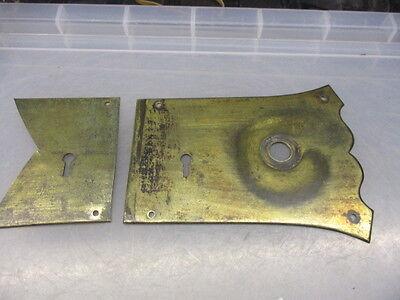 Antique Brass Door Knob Handle Plates Escutcheon Set Vintage Keyhole Old