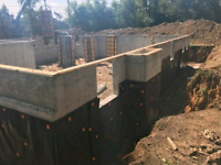 Concrete foundation, house addition, forming concrete floor