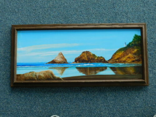 Vintage Cape Disappointment WA Heceta lighthouse Oil Painting by R Jurries
