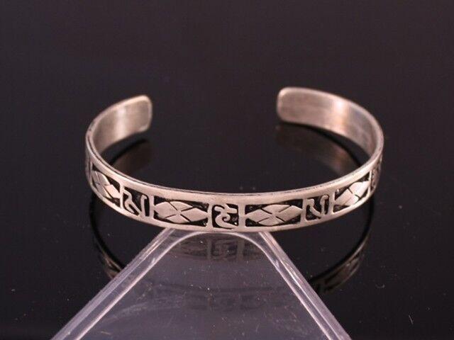 Tibetan Multi Pane Carved Spaced Mantra OM Mani Padme Hum Amulet Cuff Bracelet
