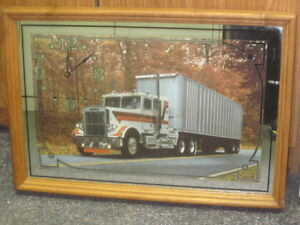 Vintage Freightliner Truck Mirror-Framed Picture with Clock