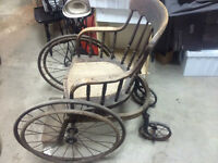 VERY OLD WOODEN WHEEL CHAIR