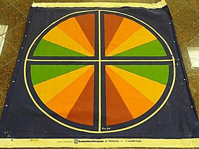 "COOL 70's STEVE JOHNS HAND PRINTED CANVAS ""COLORWHEEL"" 1977 BRANDON HOUSE DESIGN"