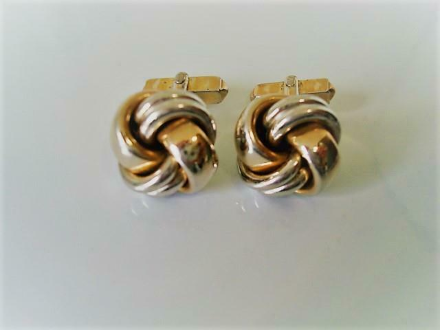 Vintage Silver Tone and Gold Tone Knot Cuff Links