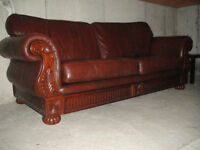 High End Brown 100% Leather Sofa & Loveseat, Paid $5176