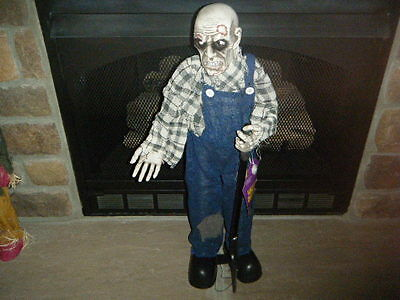 HALLOWEEN ZOMBIE FARMER GRAVE DIGGER 2.5' FT W/ BLINKING RED LITE EYES MOTION!!! - Grave Digger Halloween
