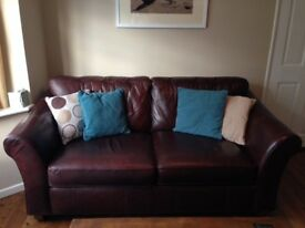 Brown leather sofa - 3 seater
