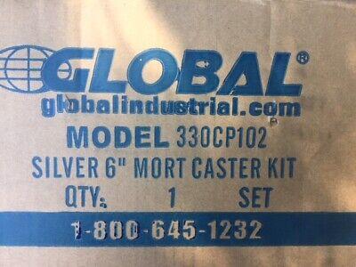 Silver 6 Inch Mort 2 Swivel Caster Kit New