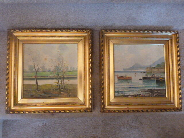 "2 Mid Century Italian PETRILLI Landscape Harbor Paintings Tiles Signed 6"" Tile"