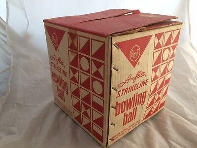 "Vintage AMF ""Amflite"" STRIKELINE BOWLING BALL & ORIGINAL BOX! Blue marble"