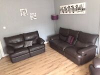 Brown leather 3 piece reclining sofa