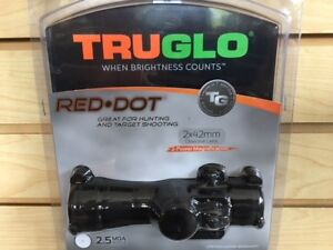 New 2018 Truglo Red Dot Sight 2x42mm 2 Power Scope 2.5 MOA TG8030B2