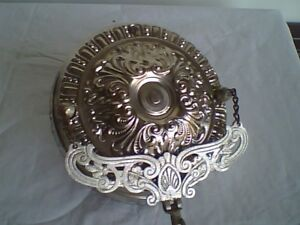 Antique Aladdin Hanging Lamp Ceiling Retractor Nickle Finish