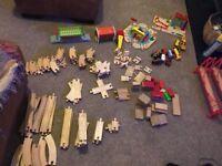 Wooden train set (60+ pieces)