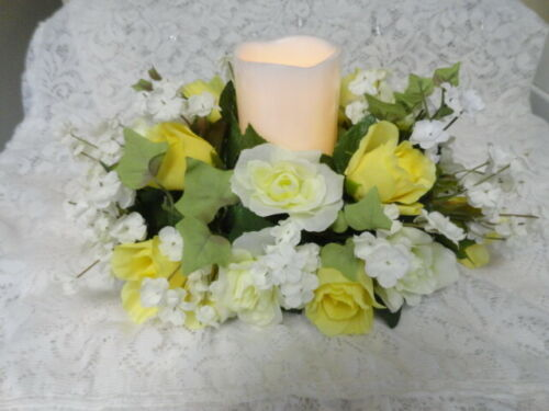 Yellow and White Roses Tabletop Centerpiece, Lighted, Mother