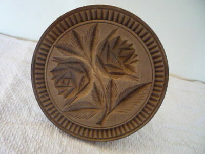 ANTIQUE CARVED BUTTER PRINT STAMP WOOD BUTTER MOULD FLOWER & LEAF DESIGN *