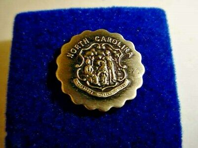 Vintage North Carolina State Seal Lapel/Hat Pin  s154 Antique Silver -