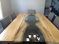 REVERSED LIVE EDGE TABLE HARVEST TABLE DINING ROOM TABLE