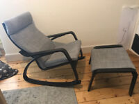 Rocking-chair / Arm-chair IKEA POÄNG with matching footstools
