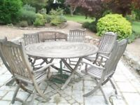 Teak garden table and chairs