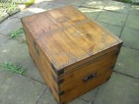 Large Vintage Victorian Pine Trunk Box Chest Brass Stud-Work 'CW'.