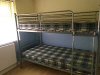 Metal frame large single bed size Bunks complete with Mattresses