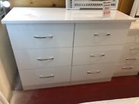 New high gloss white grey or oyster 6 drawer wide chest of drawers £129 Take it home today