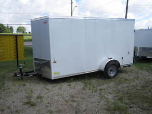 2017 6x12 Haulin Enclosed Trailer white with Barn Doors