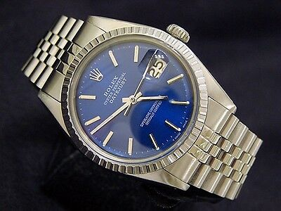 Mens Rolex Datejust Stainless Steel Watch Jubilee with Submariner Blue Dial 1603