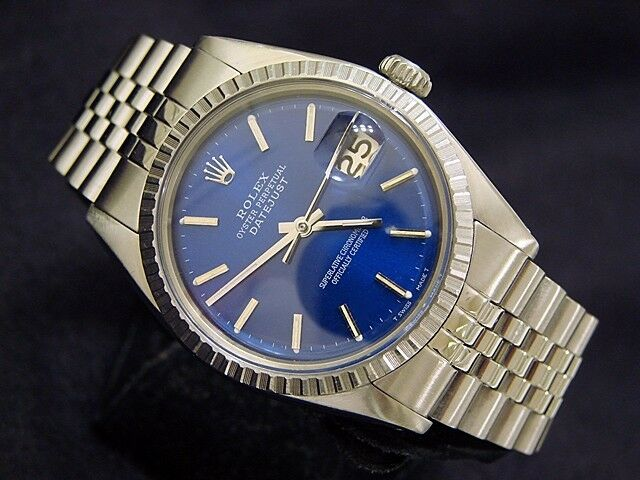 Mens Rolex Datejust Stainless Steel Watch Jubilee with Submariner Blue Dial 1603 - watch picture 1