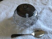 Vintage cut glass and EPNS lidded preserve pot with spoon