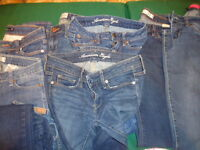 Jeans..mostly 2,5 & 6....waist size 25-27