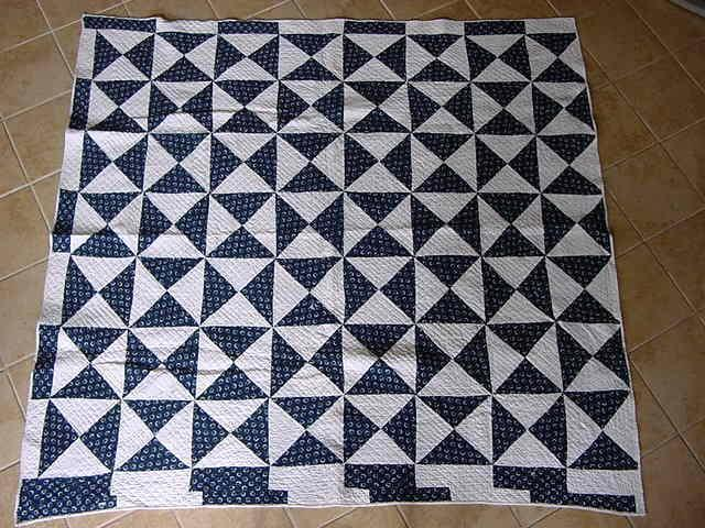 """REVERSIBLE  Flying Geese Antique Quilt Hand Pieced Hand Quilted 80"""" by 78"""""""