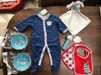 Baby Items: M&S Comforter, Rattle, Bibs, Food Bowls & Sleep suit (3-6 months). New. Collect Fulham