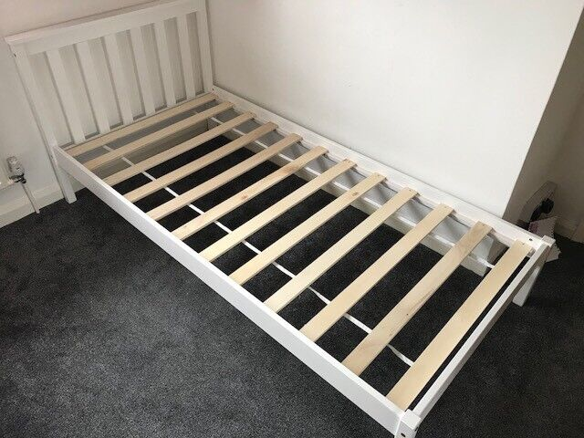 White wooden single bed frame - nearly new!!!