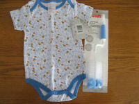 Brand New - 12 Mth Onsie & Double Sided Bottle Brush