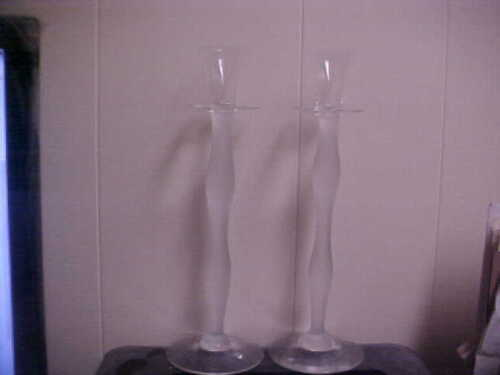 """Orrefors Celeste Frosted 13"""" Candle Holders (PAIR)"""