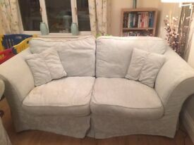 Two X Three seater sofas in duck egg blue + two sets of washable covers (1 set brand new)