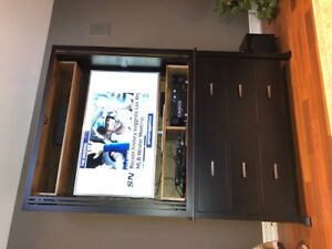 Antiqued Black Large TV cabinet