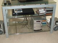 Glass & Silver Metal TV Unit For Sale