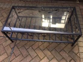 Coffee table, glass top, black metal, excellent condition