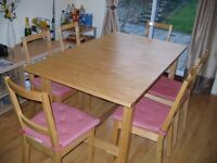 IKEA Make NORDEN Extendable Dinning Table, Birch Table size 105/205 x 90mm with 6 Chairs Foam Pads