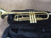 Jupiter JTR 300 Trumpet with Black Zip Case with handle and strap.