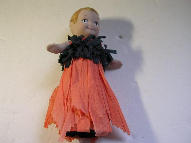 """5 1/2"""" Halloween Doll w/Bisque Head Arms & Half Body and Crepe Paper Body #2"""