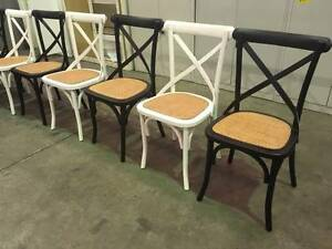 White/ Tan / Brown Cross Back / Provincial Dining Chairs- REDUCED Smithfield Parramatta Area Preview
